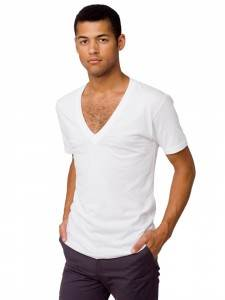 American Apparel: Sheer Jersey Short Sleeve Deep V-Neck
