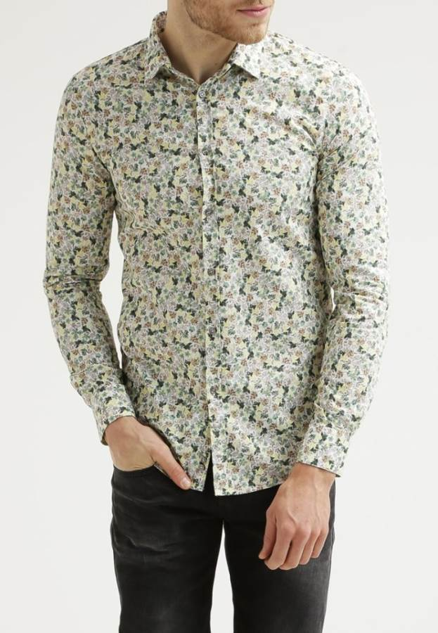 Sisley SLIM FIT - Hemd - green white yellow