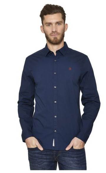 Poplin Stretch Long Sleeve Shirt Original Penguin