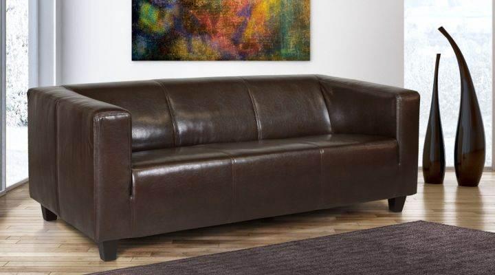 B-famous 3-Sitzer Sofa Kuba Glanzleder braun