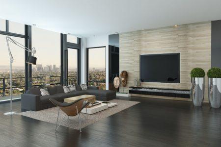 Modernes Wohnzimmer eines Mannes